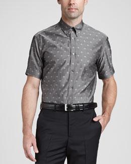 Skull & Dot Short-Sleeve Sport Shirt, Gray