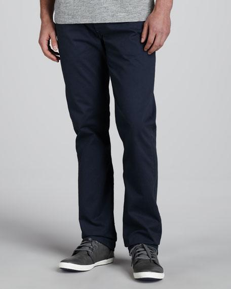 Slim Straight Chino Pants, Navy