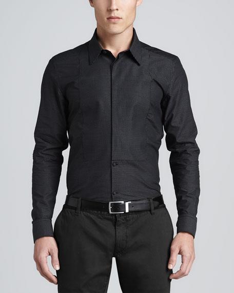Pindot Dress Shirt, Black/White
