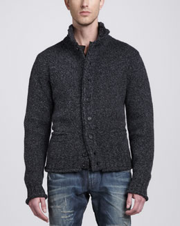 Dolce & Gabbana Heathered-Knit Cardigan, Charcoal