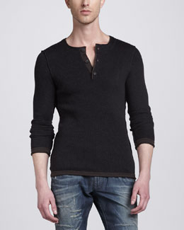 Dolce & Gabbana Serafino Long-Sleeve Henley, Dark Brown