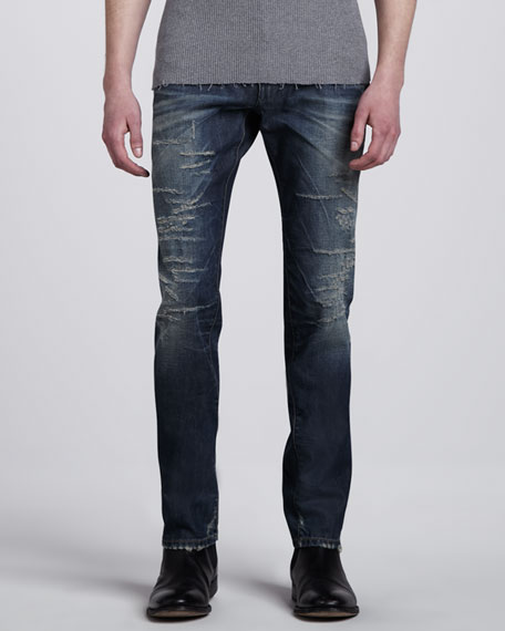 Mid-Rise Mended Blue Jeans