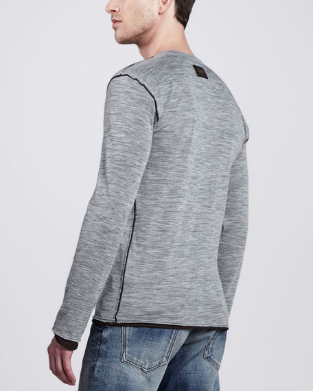 Double-Layer Long-Sleeve Henley, Gray/Brown