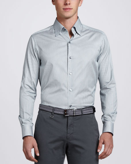 Long-Sleeve Classic Stripe Sport Shirt, Sage Navy