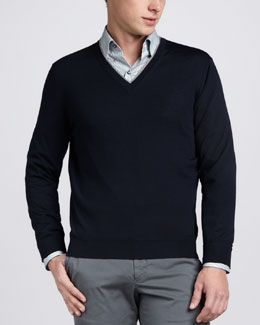 Ermenegildo Zegna V-Neck Sweater, Navy