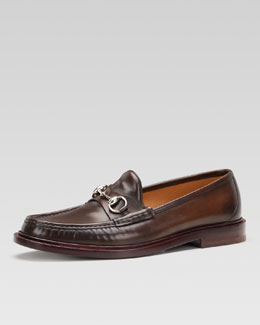 Gucci Legend Leather Horsebit Loafer, Brown