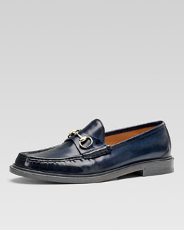 Gucci Legend Leather Horsebit Loafer, Navy