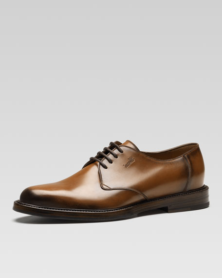 Ragona Cuir Leather Lace-Up Shoe, Brown
