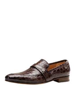 Gucci Faramir Crocodile Loafer, Brown
