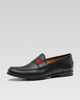 Frederik Leather Web Loafer, Black