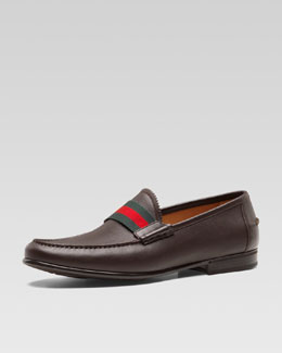 Gucci Frederik Leather Web Loafer, Brown