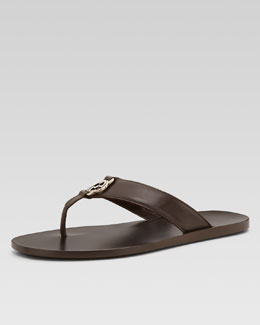 Gucci GG Line Leather Thong Sandal, Brown