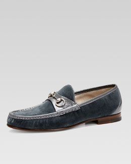 Gucci Roos 1953 Velvet Horsebit Loafer, Blue