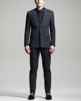 Givenchy No-Collar Tweed Jacket, Gray