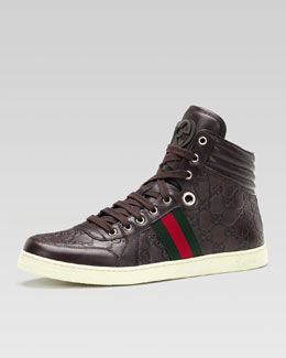 Gucci Coda Guccissima Leather High-Top Sneaker, Brown