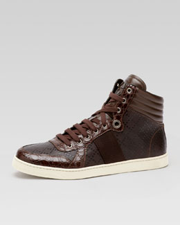 Gucci Coda Crocodile High-Top Sneaker, Brown