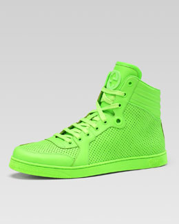 Gucci Coda Neon Leather High-Top Sneaker, Green