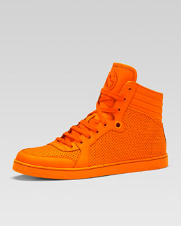 Gucci Coda Neon Leather High-Top Sneaker, Orange