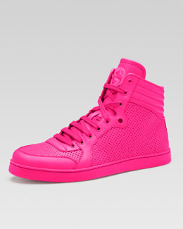 Gucci Coda Neon Leather High-Top Sneaker, Pink
