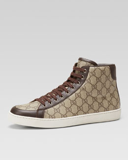 Gucci Brooklyn GG Supreme Fabric High-Top Sneaker, Beige