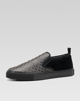 Gucci Mitte Leather Studded Slip-On Sneaker, Black