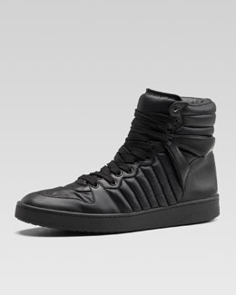 Gucci Hudson Padded Nylon High-Top Sneaker, Black