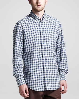 Multi-Check Basic Long-Sleeve Shirt, Blue