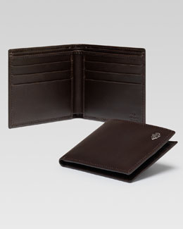 Gucci Crest Detail Bi-Fold Wallet, Brown