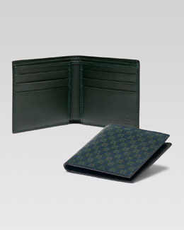 Gucci Microguccissma Glossy Patent Leather Bi-Fold Wallet, Blue/Green