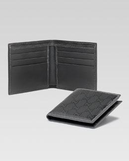 Gucci GG Imprime Leather Bi-Fold Wallet, Platinum