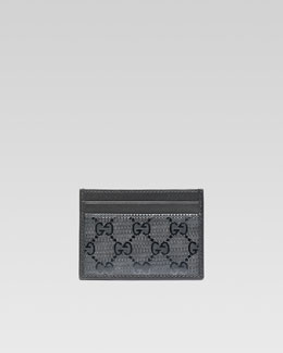 Gucci GG Imprime Leather Card Case, Platinum