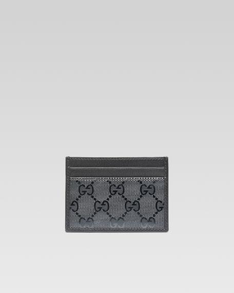 GG Imprime Leather Card Case, Black