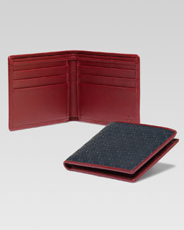 Gucci Microguccissima Leather Bi-Fold Wallet, Blue/Red