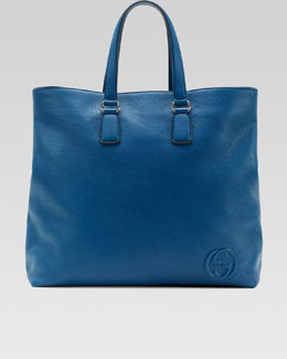 Gucci Soho Men's Leather Tote Bag, Sapphire Blue