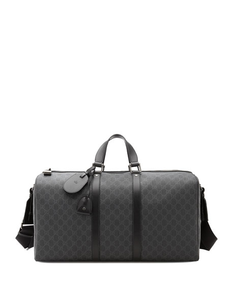 GG Supreme Canvas Large Carry-On Duffel Bag, Black