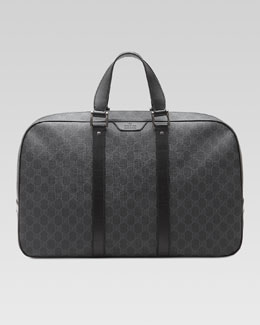 Gucci GG Supreme Canvas Carry-On Duffel Bag, Gray/Black