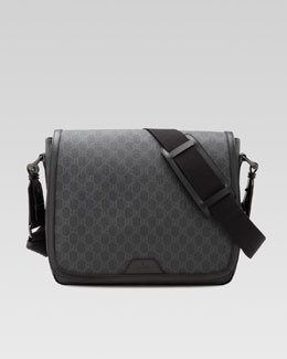 GG Supreme Canvas Messenger Bag, Gray/Black