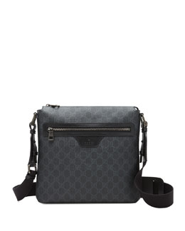 Gucci GG Supreme Small Canvas Messenger Bag, Black
