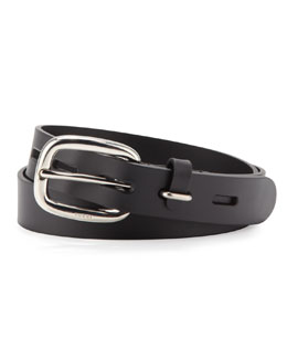 Gucci Leather Belt with Square Buckle, Black