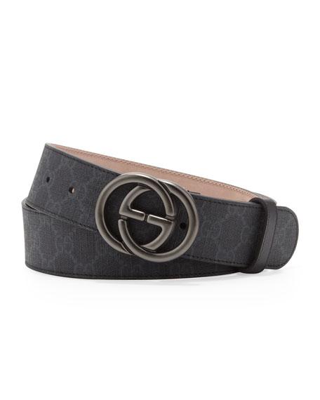 GG Supreme Canvas Belt with Interlocking G Buckle