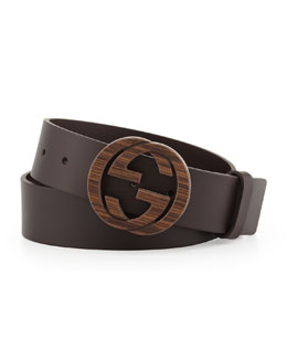 Gucci Wood Interlocking G Buckle Leather Belt, Brown