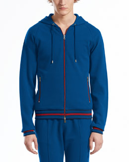 GUCCI Felted Toweling Hooded Jacket, Tide
