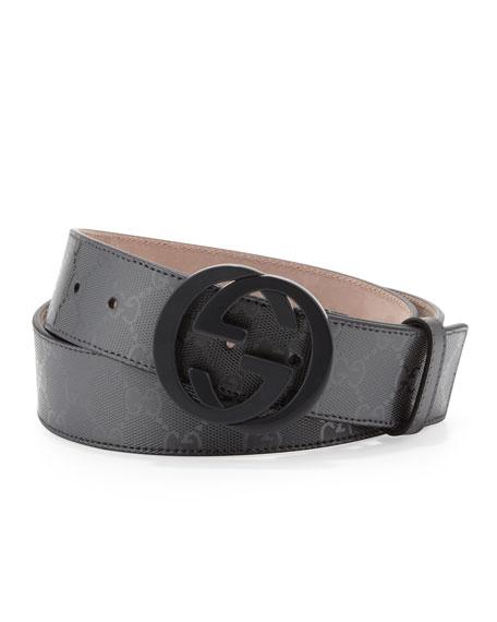 86ba65a8b97f8e Gucci GG Supreme Canvas Belt with Interlocking G Buckle, Platinum