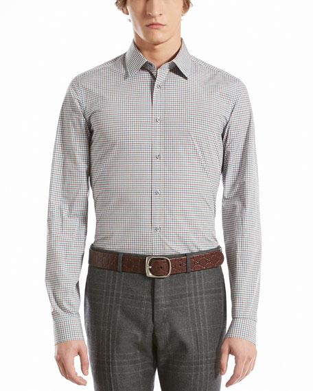 Check Muslin Slim Shirt, Aqua/Terracotta