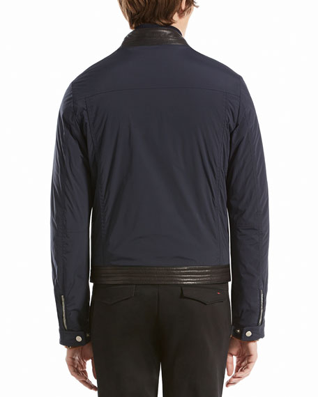Nylon Moto Jacket with Contrast Leather Detail, Caspian Blue