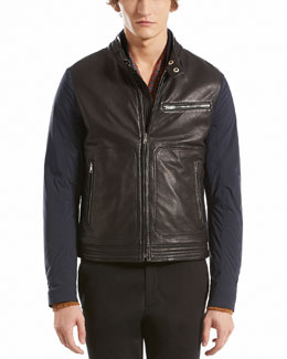 GUCCI Nylon Moto Jacket with Contrast Leather Detail, Caspian Blue