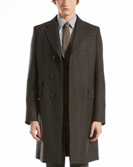 GUCCI Houndstooth Three-Button Overcoat, Black/Green
