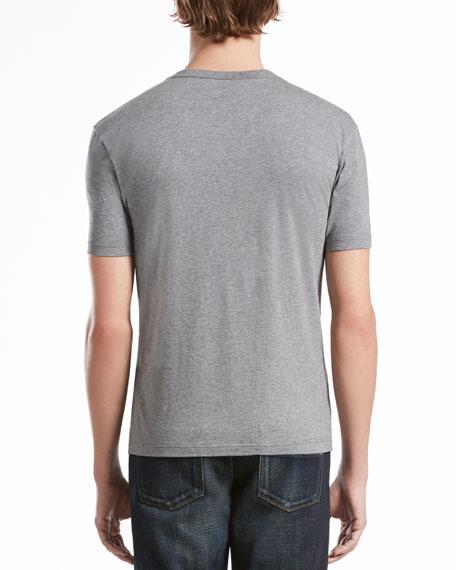 Short-Sleeve Logo Jersey Tee, Heather Gray/Burgundy