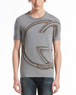 GUCCI Interlocking-G Print Jersey Tee, Light Gray