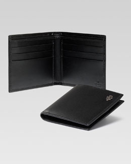 Gucci Crest Detail Bi-Fold Wallet, Black